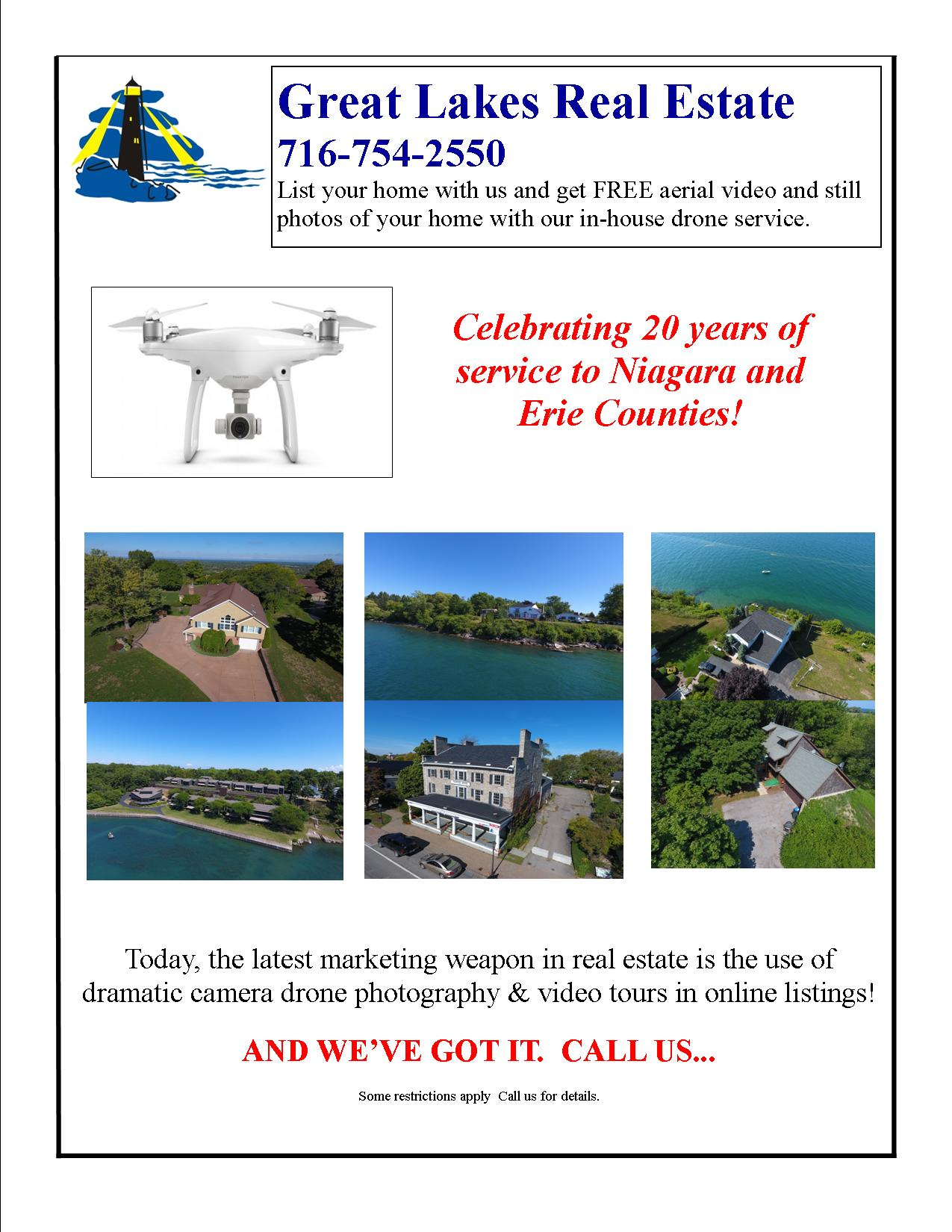 Aerial Drone photography of homes for sale in Lewiston and Buffalo New York